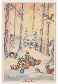cartolina natalizia vintage fg Natale volpe scoiattoli conigli topo giocattoli