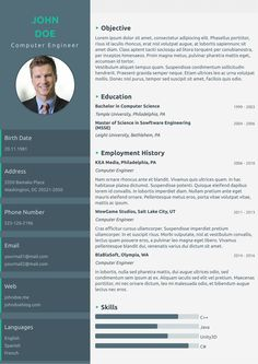 One Page Modern cv template from cvzilla.com Enjoy creating your awesome resume!