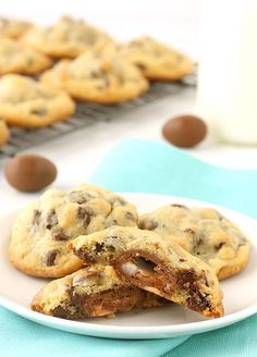 Just stuff Mini Creme Eggs into cookie dough to make these Creme Stuffed Chocolate Chip Cookies.