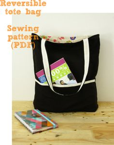 Reversible tote bag sewing pattern (PDF) instant download
