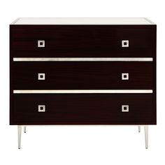 HUDSON RWS - ROSEWOOD 3 DRAWER CHEST WITH SILVER LEAF HARDWARE & BASE  BEVELED MIRROR INSET TOP