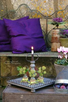 Purple pillows, cabbages, and plums.