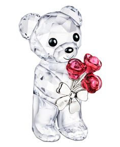 """Already irresistible in faceted Swarovski crystal, this Kris Bear figurine extends a bouquet of red roses that'll win anyone's heart. 