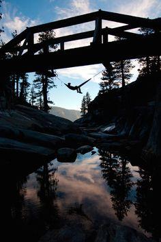 Hanging off a bridge by (Trev Lee)