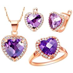 KnBoB Jewelry Sets Women Silver Plated Purple Heart Crystal CZ Ring Pendant Necklace Earrings Set *** Read more reviews of the product by visiting the link on the image. (This is an affiliate link and I receive a commission for the sales)