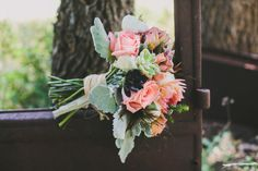 Coral, Mint, Rustic Garden Wedding - Pink, Bouquet, Roses