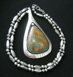 Necklace | Frank Patania Sr.  Sterling silver and Royston Turquoise.  c. 1960s, Santa Fe, New Mexico