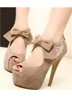 Sweet Peep Toe Stiletto Heels High Platform Prom Shoes with Lace