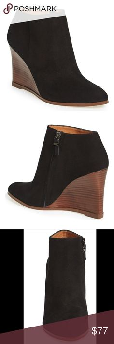 Halogen black suede wedge ankle bootie Brand new without box. Size 6.5. Genuine suede upper. Stacked wooden heel. Super cute wedge booties that are great for everyday wear. A great staple for anyone's closet! Halogen black suede wedge ankle bootie. Halogen Shoes Ankle Boots & Booties