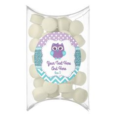 Purple Teal Owl Chewing Gum Favor