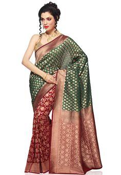 Green and Maroon Banarasi Silk Georgette Saree with Blouse