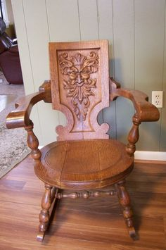 Antique Quartersawn Oak Rocker W Carved Greenman Face C1900s Mythical