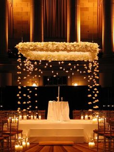 Jewish Wedding: Romantic Wedding Chuppah - The floating flowers and candles would be a cute idea. Indoor Wedding Ceremonies, Wedding Mandap, Wedding Stage, Wedding Ceremony Decorations, Diy Wedding, Wedding Ideas, Trendy Wedding, Wedding Backdrops, Indoor Ceremony
