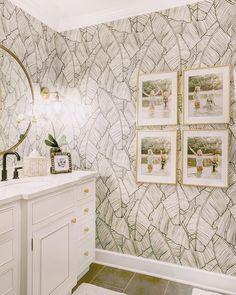 Guest Bathroom Refresh: Palm Leaf Wallpaper Bathroom Nicki Pasqualone Guest Bathroom Refresh: Palm L Decor, Leaf Wallpaper, Bathroom Refresh, Bathroom Decor, Palm Leaf Wallpaper, Bathroom Wallpaper, Home Decor, House Interior, Bathroom Design