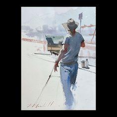 Daniel Marshall, Balboa Island Batman, Watercolor, Superhero, Painters, Island, Fictional Characters, Art, Pen And Wash, Art Background