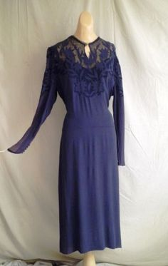 1930s Vintage Rayon Crepe Dress Floral Embroidery and Net Neckline XL 46 Bust | eBay(35)