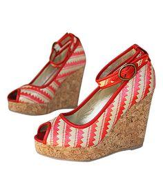 6833de20d03e Love this Joyfolie Coral   Ivory Zigzag Alma Ankle-Strap Wedge - Women by  Joyfolie on