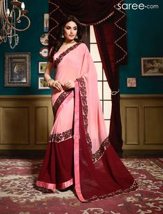 PINK AND MAROON GEORGETTE SAREE WITH EMBROIDERY WORK