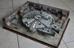 Millenium Falcon in Mos Eisley spaceport, space