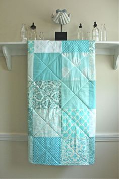 Crib Quilt  Pastel Mix of Aqua White and Ivory  by FernLeslieBaby, $98.00
