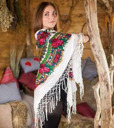 Big Ukrainian white shawl with floral print by NatsCozyShop