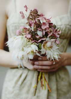 Dusty pinks and delicate creams in this unique deconstructed bouquet. Photography: Samm Blake of The Wedding Artists Collective