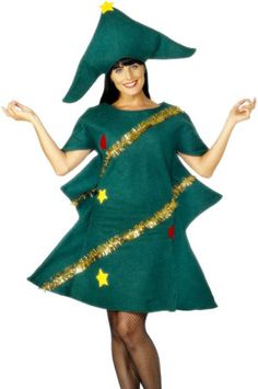 Christmas Tree Costume, Green, with Tunic & Hat Embrace the festive season in the Christmas Tree Costume. This female Christmas fancy dress costume includes a hat and tinsel. Bring the fun to the party in this costume! Christmas Tree Fancy Dress, Christmas Tree Costume, Green Christmas, Xmas Tree, Christmas Trees, Costume Paris, Costume Dress, Fancy Dress Outfits, Outfits With Hats