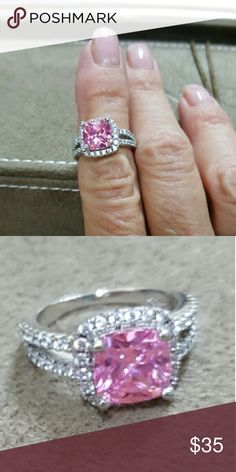 PINK CZ RING Size 4.5 Like New Sterling silver pink cz ring. Sz. 4.5 Jewelry Rings