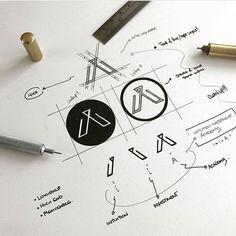 """438 """"Μου αρέσει!"""", 1 σχόλια - designdaily.. (@letsdesigndaily) στο Instagram: """"#designprocess - work-in- process @made.by.james - - Image from @logotypeclub - - #design #logo"""""""