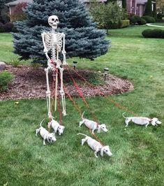 Entrada Halloween, Casa Halloween, Halloween Skeleton Decorations, Halloween Displays, Halloween Porch, Creepy Halloween, Halloween Skeletons, Outdoor Halloween, Diy Halloween Decorations