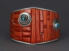 Cuff | Eddie Begay (Navajo). Sterling silver with coral, Royston turquoise and opal accents
