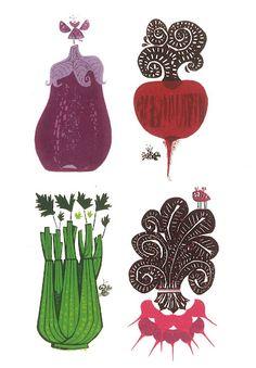 Cute art | Clean eating - 246 Cheap and Healthy Recipes        art: David Weidman 70s silk screens