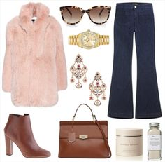Polyvore look of the weekend: pink fur, leather boots, maxi bag and Penelope denim jeans by Seafarer  #seafarer #theseafarer #polyvore #look #outfit #flare #denim #jeans #style #fashion #woman #apparel