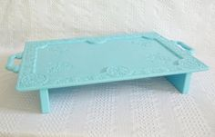 Aqua blue upcycled tray into bed tray or laptop tray, visit Grace Your Nest on etsy.com
