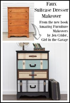 Faux suitcase dresser makeover featured in the book Amazing Furniture Makeovers by Jen, Girl in the Garage furniture projects Amazing Furniture Makeovers Book: The Projects - Girl in the Garage® Book Furniture, Diy Garden Furniture, Diy Furniture Easy, Diy Furniture Projects, Paint Furniture, Repurposed Furniture, Diy Projects, Refurbished Furniture, Rustic Furniture