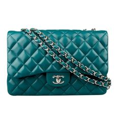 Chanel jumbo turquoise Lambskin double flap bag  like new condition  comes with dustbag and authentic card  silver hardware  asking $3400  comment for more information or to purchase this item