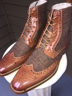 Handmade+Wing+Tip+Tweed+Leather+Boots+Brogue+Dress+Tuxedo+Formal+Office+Boots+ Condition+New+With+Box+ Upper+Two+Tone+Leather+&+Tweed+ inner+Soft+Leather+Lining+for+comfort+ Original+Leather+Sole+ Style+Ankle+high+wing+tip+ Gender+Male+ High Ankle Boots, Shoe Boots, Men's Boots, Lace Up Shoes, Dress Shoes, Dress Clothes, Tan Shoes, Oxford Shoes, Leather Men