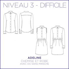 Adeline Pdf Sewing Patterns, Dress Patterns, Sewing Clothes, Diy Clothes, Sleeveless Shirt, Shirt Dress, Adeline, Diy Vetement, Couture Sewing