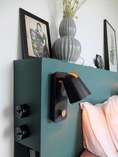 Notre tête de lit multifonctions pour 50 euros* – Misc Webzine Bedroom Bed Design, Dream Bedroom, Home Bedroom, Master Bedroom, Color Effect, First Home, Bed Frame, Diy Furniture, Wall Lights