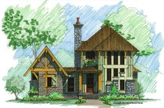 Cozy Mountain Front Elevation -- Natural Element Homes 2+ bed 2 bath floor plan.  Master suite is on main floor and detached from main part of house.  this plan is very amenable to having a guest bedroom, office space, and workout craft area plus walkway to detached garage and green roof
