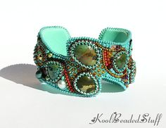 Bead embroidered cuff with turquoise cabochons  от koolbeadedstuff