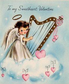 Another cute little angel harp valentine. #vintage #valentine #harp #harpist #card