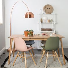 ZUIVER EXTENDING DINING TABLE in Ash Veneer | Scandi Style Dining Room | Pink | Olive Green | Copper Floor Lamp