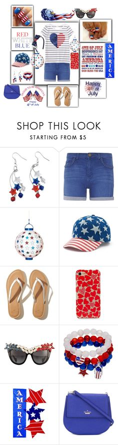 """""""Party For Freedom"""" by jayme-becker ❤ liked on Polyvore featuring Dorothy Perkins, POPTIMISM!, Mudd, Hollister Co., Kate Spade, Anna-Karin Karlsson, Evergreen Enterprises and fourthofjuly"""