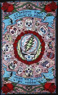 "Grateful Dead - 3D Mini Mexicali Skull Tapestry   This tapestry is handmade, 100% cotton tapestry and features Grateful Dead skulls in a Mexicali kind of way. This wall hanging it is equipped with specially-designed loops to accommodate easy support from a wall, window frame, ceiling. Measures approximately 30"" x 45"". Officially licensed Grateful Dead merchandise. #sunshinedaydream #hippieshop"