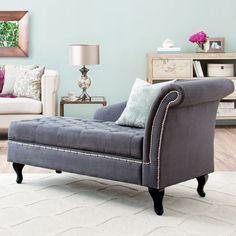 Chaise in dark grey (aqua/beige/magenta accents)