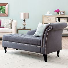 Chaise in dark grey (aqua/beige/magenta accents)