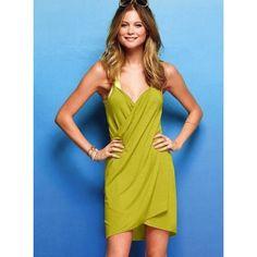 Fashion Womens Yellow V Neck Spaghetti Strap Backless Beach Dress