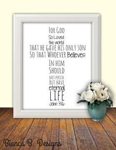 Bible verse Print, John 3:16 printable scripture wall art Christian decor poster For God so loved the world cross print scripture typography by Designsbybiancab, $5.00
