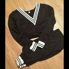 B&W trimmed Sweatpant outfit Size S Brand new , never worn sweatpant outfit, just to lounge around in or wear out! , matching top and bottom! Very comfortable and stylish.Black with black and white striped detailing on the cuff area... v neck and ankle area! Adorable lounge around outfit Rosegal Other